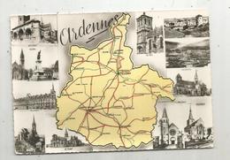 Cp,  Carte Géographique ,  08,  ARDENNES ,  écrite ,  Multi Vues - Landkarten