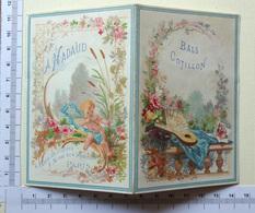 CHROMO QUI S'OUVRE..PARIS ...MAISON NADAUD....LOCATION  ....COTILLON....DECORATIONS...EVENTAIL..ANGE - Trade Cards