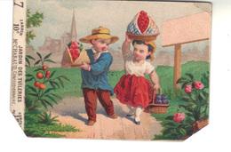 Petit Chromo   N° 7 - Couple Avec Des Fruits -Jardin Des Tuileries 10 C M. Chabaud Concessionnaire.   Exposition - Trade Cards