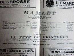 HAMLET -FETE DU PRINTEMPS-PROGRAMME OPÉRA De LYON-SPECTACLE-PHOTOS ARTISTE COMÉDIEN-ACTEUR - Programs