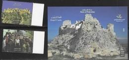 PALESTINE, 2018, MNH, CASTLES, SHQAIF CASTLE,  ARAFAT, 2v+S/SHEET - Castles