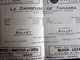 BALLET DRAME LYRIQUE  LA DANSEUSE DE TANAGRA-PROGRAMME OPÉRA De LYON-SPECTACLE-PHOTOS ARTISTE COMÉDIEN-ACTEUR - Programs