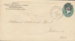 United States Postal Stationery Ganzsache PRIVATE Print FIRST NATIONAL BANK, BIDDLEFORD Maine 1893 Killer Cds. !! - Ganzsachen