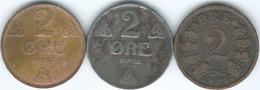 Norway - Haakon VII - 2 Øre - 1907 (KM362) 1920 (KM371a) & 1938 (KM371) - Norwegen
