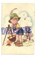 Deux Enfants Qui Pique-niquent (suisses). Feu De Camp, Fondue. Signée Galbiati. 1952 - Illustrateurs & Photographes