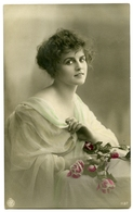 PRETTY GIRL WITH ROSES (HAND COLOURED) - Women