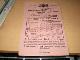 Lugos Maggyar Kiralyi Szabadalmazott Osztajsorsjatek Lottery  Kereskedelmi Bank Rt Lugos - Lottery Tickets