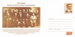 33206. Carta Entero Postal RUMANIA 2008. 90 Años Union Transilvania - Enteros Postales