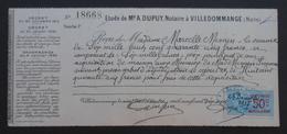 Reçu De L'Étude De Maitre A. Dupuy, Notaire à Villedommange Daté De 1917 - Protagoniste Marcelle Mimin - France