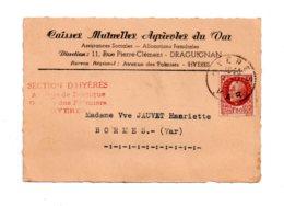 Affranchissement Pétain - Caisses Mutuelles Du Var-- Voir état - Marcophilie (Lettres)
