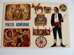PIAZZA  ARMERINA   ED.  TORNATORE MESSINA   SICILIA  COSTUME REGIONALE  BRODEE POSTAL   BORDADA    RICAMATA IN TESSUTO - Ricamate