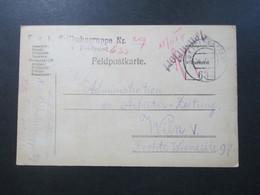 Österreich 1917 Feldpostkarte KuK Seilbahngruppe Nr. 29 Feldpostamt 633 Zensuriert Und Handschriftlicher Vermerk! - Briefe U. Dokumente