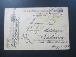 Österreich 1918 Feldpostkarte KuK Etappenstationskommando Kowel Feldpostamt 340 Ukraine Via Stanislawow - Briefe U. Dokumente