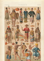 Oceanie Oceania Poster Colored Size 22 Cms / 40 Cms . Circa 1870. Nordmann LithoNude Men And Women With Tattoo. Tatouage - Cartes Postales