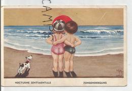 """Couple D'enfants Sur La Plage Au Coucher De Soleil: """"Nocturne Sentimentale"""" Signé Wysch (?) - Humour"""