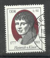 """DDR 2267 """"Einzelmarke Aus Block 51 Heinrichr V.Kleist 200. Geburtstag .."""" Gestempelt Mi 3,00 - DDR"""