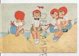 Trois Filles Uniforme Et Bonnet Rouge Admirent Une Autre En Bonnet Rouge Et Blanc, Jupe à Carreaux. Signature Illisible - Humour