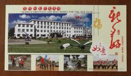 Black Necked Crane,basketball Playground,CN 07 Jinlin Post PLA Unit Advertising Pre-stamped Card,specimen Overprinted - Grues Et Gruiformes