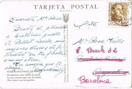 33218. Postal ESPLUGA De FRANCOLI (tarragona) 1948. Reexpedida. Monasterio De Poblet - 1931-50 Cartas