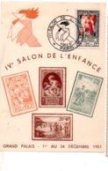 Carte Et Affranchissement IV° Salon De L'enfance 1951- Voir état - Postmark Collection (Covers)