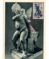 Croix Rouge 1955- Carte Et Timbre Art Grec-Angers- Voir état - Cartes-Maximum