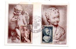 Croix Rouge 1951- Carte Et Timbre Falconet Houdon-Baden Baden- Voir état - Cartes-Maximum