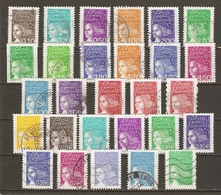 France - 2002/3 - Marianne Du 14 Juillet - Valeurs En FF/Euros/VP - Petit Lot De 28 Timbres ° - Stamps