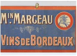 Panneau Publicitaire En Carton Fort - Maison MARCEAU Ou MARGEAU - Vins De Bordeaux - Vin, Alcool, ...(fr79) - Publicités