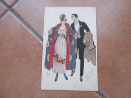 1919 Coppia Elegante Moda Costume Illustratore FAENZA Scritta Al Verso  Ed.DSN - Coppie