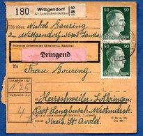 Colis Postal  -  Départ Wittgendorf   - Pour Seingbouse - Covers & Documents