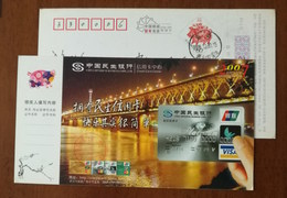 Wuhan Changjiang River Double Deck Railway-highway Combined Bridge,CN 07 Minsheng Bank Credit Card Center Advert PSC - Ponts