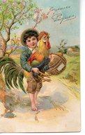 Belle Illustrée Gaufrée Et Dorée : Petit Garçon Au Coq . PAQUES - Pasqua