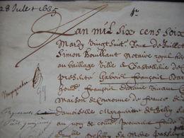 1665 Acte Sur Parchemin Donnant Main Levée D'un Droit Féodal à Gabriel François Daraine (Compiègne) Famille De Billy - Manuscripts