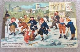 Classe 1924 Amusante Carte Illustrateur écolier Patriotique Bataille Boules Neige Affiche Bouveret Le Mans - Illustrateurs & Photographes