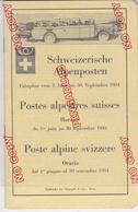 Au Plus Rapide Fascicule Postes Alpestres Suisses 1934 Très Bon état Livret 51 Pages - Europe