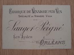 CARTE DE VISITE SAUGER PEIGNE LES AYDES ORLEANS FABRIQUE DE VINAIGRE PUR VIN - Visitekaartjes