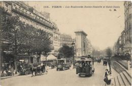 D75 - PARIS 2ème - LES BOULEVARDS BONNE NOUVELLE ET SAINT DENIS-Calèches-Véhicule Ancien -Plusieurs Cars - Arrondissement: 02