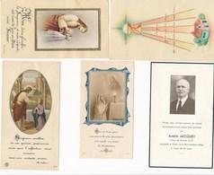 Lot De 5 Images Religieuses 4 De Communion + 1 De Décés Famille JACQUET  à SAINT MARTIN D' AUXIGNY 18 CHER ( Recto Verso - Images Religieuses