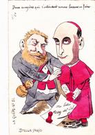 CPA RARE Peinte à La Main Caricature Satirique JAURES Cardinal 4/50 Ex. La Guêpe N° 51 Illustrateur Stella-Paris 2 Scans - Autres Illustrateurs