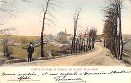 L'entrée Du Village De Leugnies Par La Route De Beaumont (animée, Colorisée, Jules Grimar 1907) - Beaumont