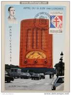 Carte Maximum Card Appel Du 18 Juin De Gaulle Lille - De Gaulle (Général)