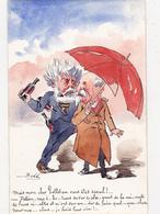CPA RARE Peinte à La Main Caricature Satirique Politique COMBES / PELLETAN Parapluie Pépin Illustrateur BOBB (2 Scans) - Illustrateurs & Photographes