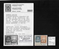 1854-1862 Helvetia (Ungezähnt) Strubel → MISCHFRANKATUR SBK-25G & 31, Stempel NEUCHATEL Mit Befund/Attest - 1854-1862 Helvetia (Non-dentelés)