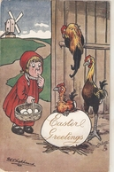 """G.E. Sheheard. Girl With Basket Of Eggs.Hens""  Tuck Oilette Humorous Easter Greetings PC # 1245 - Tuck, Raphael"
