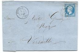 N° 22 BLEU NAPOLEON SUR LETTRE / GENTILLY POUR VERSAILLES / 2 JANV 1866 / GC 1643 - Marcophilie (Lettres)