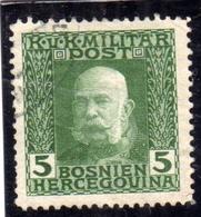 BOSNIA EZERGOVINA 1912 1914 EMPEROR FRANZ JOSEF IMPERATORE FRANCESCO GIUSEPPE 5h USATO USED OBLITERE' - Bosnia Erzegovina