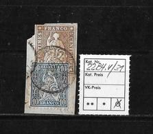 1854-1862 Helvetia (Ungezähnt) Strubel → MISCHFRANKATUR SBK-22G & 31 Auf Briefteil - Lettres & Documents