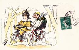 """CPA Sport Cyclisme Vélo Publicité Bicyclette J.C. (au Dos) Cycling  """"Le Loup Et L' Agneau"""" Illustrateur MOLOCH (2 Scans) - Moloch"""