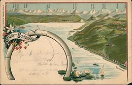 Ansichtskarte Litho AK Meersburg Bodensee 5 Staaten Mischfrankatur 1899 - Meersburg