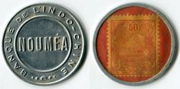 N93-0585 - Timbre-monnaie Nouméa - Banque De L'Indochine - 50 Centimes - Kapselgeld - Encased Postage - Monétaires / De Nécessité